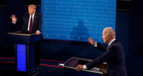 Erstes TV-Duell Trump vs. Biden. Foto: picture alliance/Morry Gash
